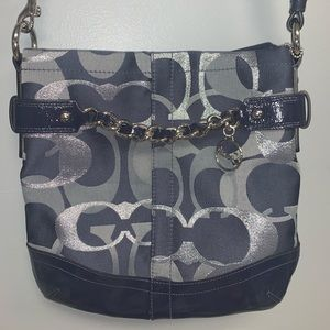 "Coach purse in navy and silver ""C"" print"